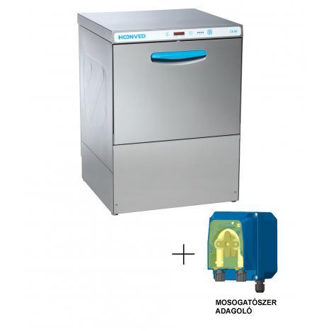 Hoonved CE60 OPTI típusú ipari nagykonyhai tányér- és pohármosogatógép mosogatószer adagolóval