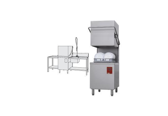 DK7/2-NP/B-D típusú ipari, nagykonyhai, Tányér és pohármosogató gép