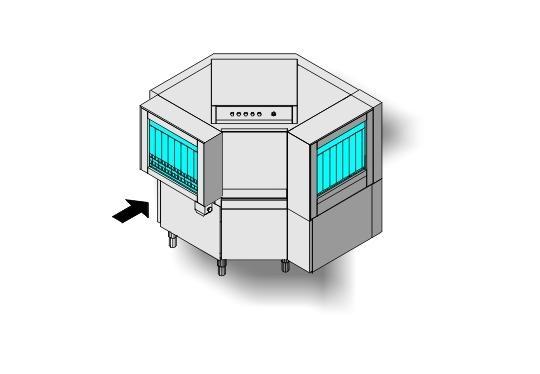 Ma10 típusú, ipari- nagykonyhai alagút rendszerű folyamatos üzemű mosogatógép
