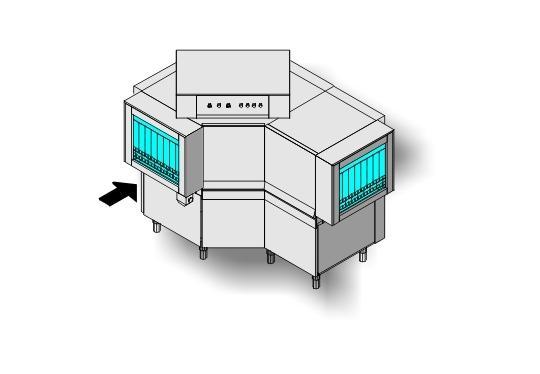 Ma39 típusú, ipari- nagykonyhai alagút rendszerű folyamatos üzemű mosogatógép